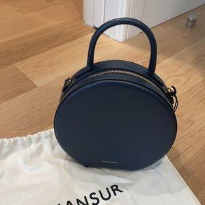 Mansur Gavriel blue calfskin round bag